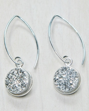 Silver Bezel Druzy Marquis Earrings - Silver