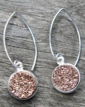 Silver Bezel Druzy Marquis Earrings - Copper
