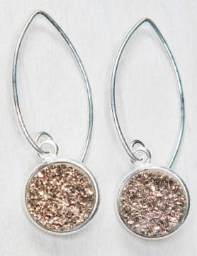 Silver Bezel Druzy Marquis Earrings - Copper