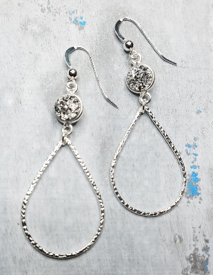 Silver Chandelier Druzy Earrings - Silver