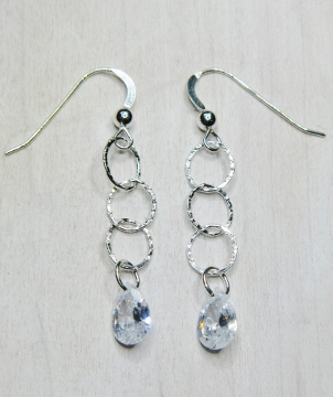 CZ Ringlet Earrings - Clear
