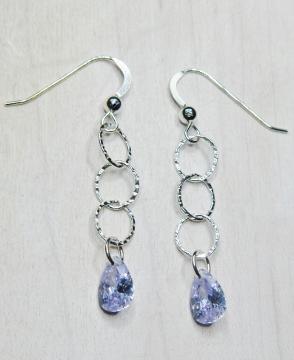 CZ Ringlet Earrings - Tanzanite