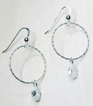 CZ Diamond Cut Hoops Earrings - Clear
