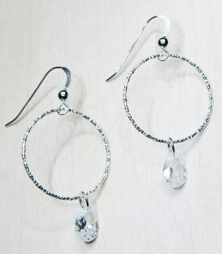 Cz Diamond Cut Hoops Earrings Clear