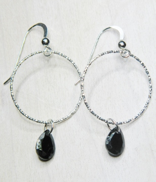 CZ Diamond Cut Hoops Earrings - Jet Black