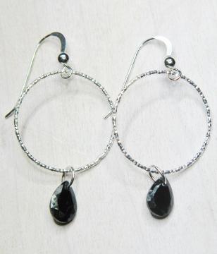 CZ Diamond Cut Hoops Earrings - Jet Black