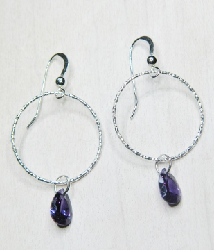 CZ Diamond Cut Hoops Earrings - Amethyst