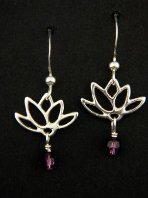 Lotus Blooms Earrings in Amethyst