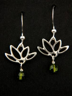 Lotus Blooms Earrings in Olivine