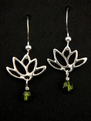 Lotus Blooms Earrings in Olivine