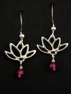 Lotus Blooms Earrings in Fuchsia