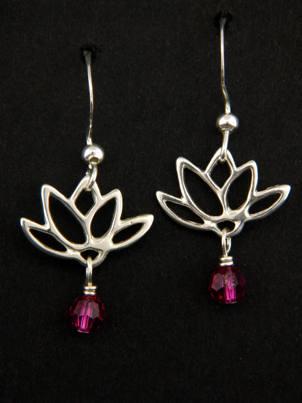 Lotus Blooms Earrings in Fuchsia