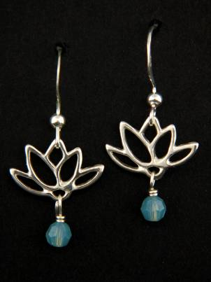 Lotus Blooms Earrings in Pacific Opal