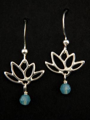 Lotus Blooms Earrings in Pacific Opal
