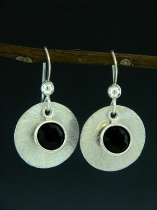 Silver Reflection Earrings in Jet Black