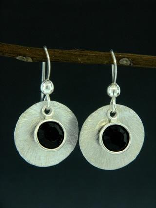 Silver Reflection Earrings in Jet Black