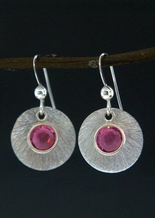 Silver Reflection Earrings in Pink Rose