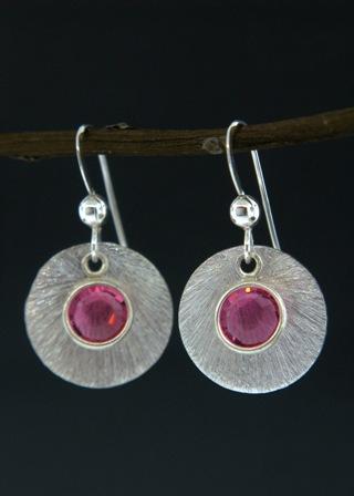Silver Reflection Earrings in Pink Rose
