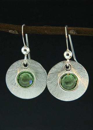 Silver Reflection Earrings in Peridot