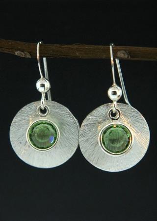 Silver Reflection Earrings in Peridot