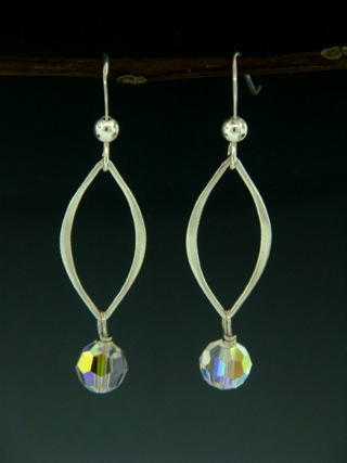 Silver Lotus Petals Clear Crystal Earrings