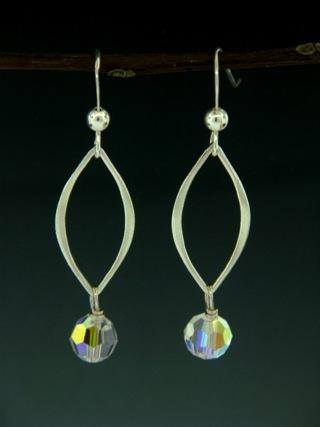 Silver Lotus Petals Clear Crystal Earrings