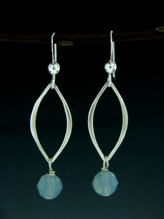 Silver Lotus Petals Pacific Opal Crystal Earrings