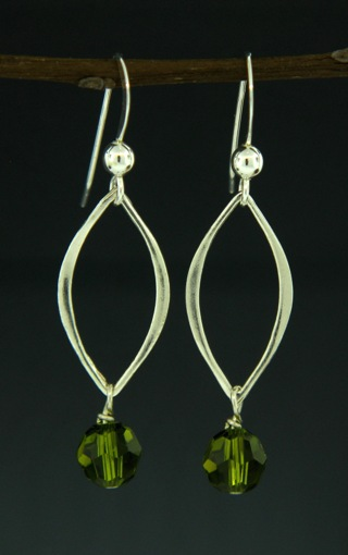 Silver Lotus Petals Olivine Crystal Earrings