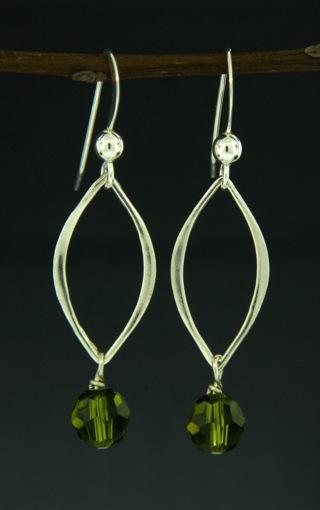 Silver Lotus Petals Olivine Crystal Earrings