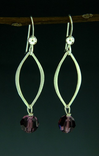 Silver Lotus Petals Amethyst Crystal Earrings