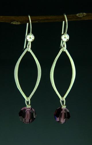 Silver Lotus Petals Amethyst Crystal Earrings