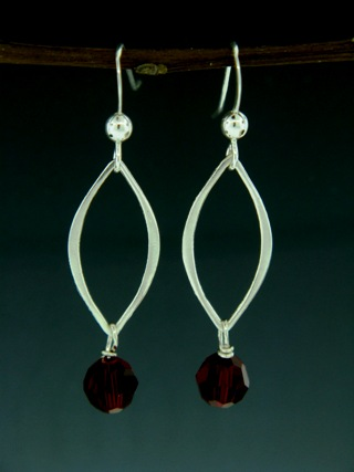 Silver Lotus Petals Siam Red Earrings