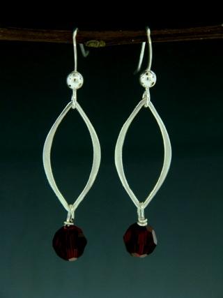Silver Lotus Petals Siam Red Earrings