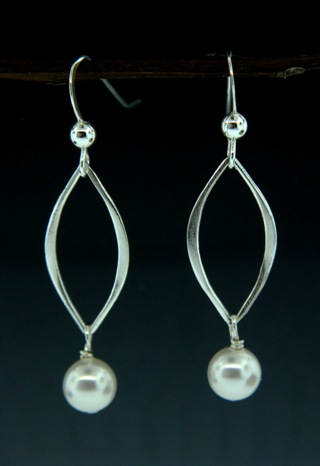 Silver Lotus Petals White Pearl Crystal Earrings