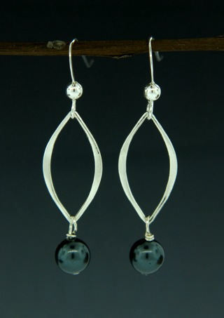 Silver Lotus Pearl Tahitian Crystal Earrings