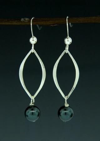 Silver Lotus Pearl Tahitian Crystal Earrings