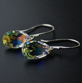 Clear AB Aqua Crystal Briolette Earrings