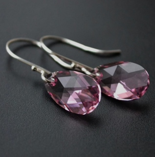 Rose Pink Crystal Briolette Earrings