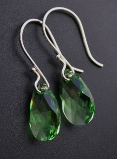 Peridot Green Crystal Briolette Earrings