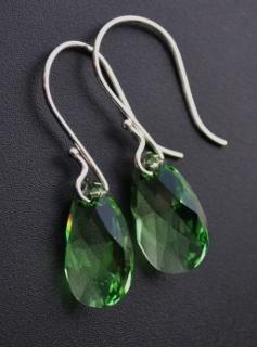Peridot Green Crystal Briolette Earrings