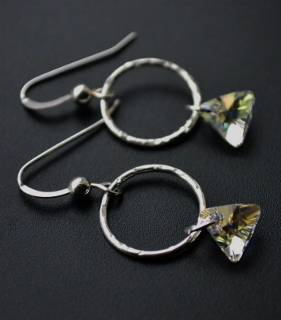 Clear Triangle Hammered Hoop Earrings