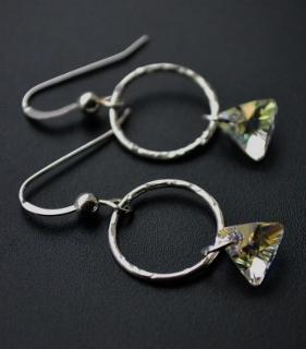 Clear Triangle Hammered Hoop Earrings