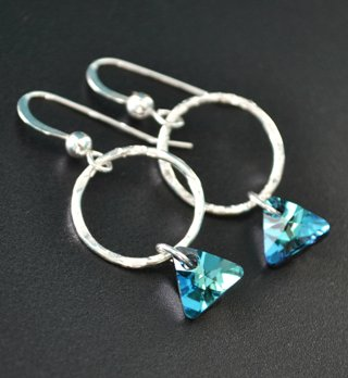 Bermuda Blue Triangle Hammered Hoop Earrings