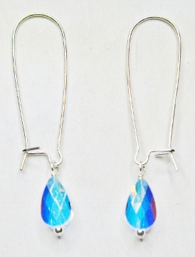 Mod Crystal Teardrop Kindney Earrings - Clear AB