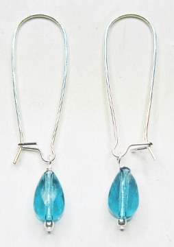 Mod Crystal Teardrop Kindney Earrings - Indicolite Blue