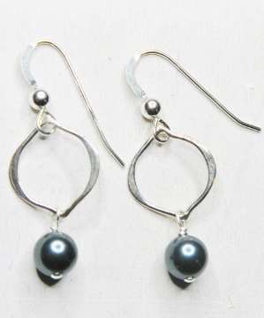 Arabesque Crystal Earrings - Tahitian Crystal Pearl