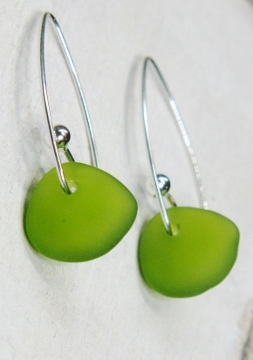 Eco Sea Glass Marquis Earrings - Peridot