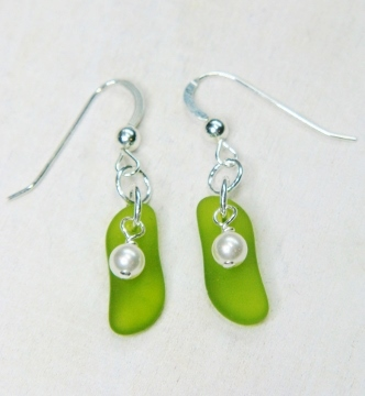 Eco Sea Glass Sticks Earrings - Peridot