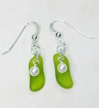 Eco Sea Glass Sticks Earrings - Peridot