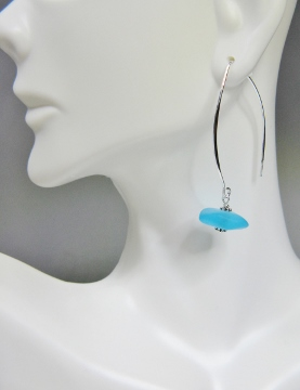 Eco Sea Glass Large Marquis Earrings - Turquoise